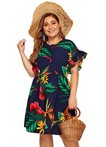 Milumia Women's Plus Size Tropical Leaf Print Ruffle Sleeve Pleated Short Dress Navy