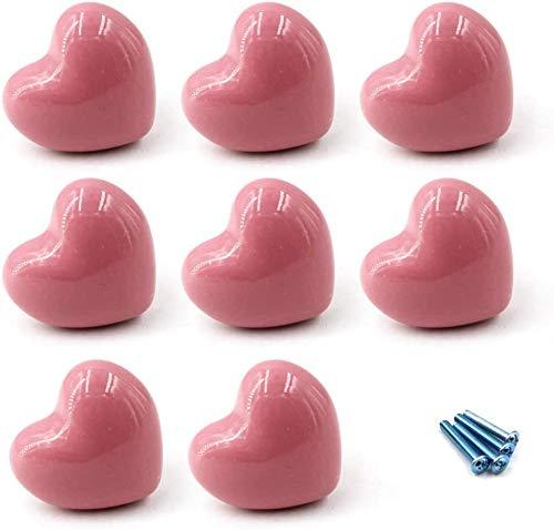 8 pomelli a forma di cuore per cassetti, in ceramica, per armadio, camera dei bambini, cassetto, cassettiera, con viti, colore: rosa
