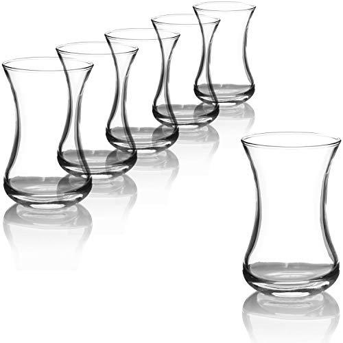 com-four® Set da 6 Bicchieri da tè, Bicchieri da tè turchi, Set Orientale Originale Çay per 6 Persone in Un Design Tradizionale