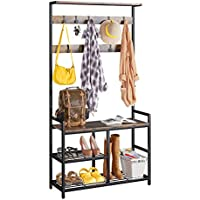 ODK 3-in-1 Hall Tree Coat Rack and Shoe Bench