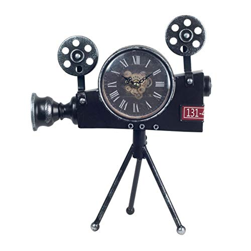 CAPRILO. Reloj de Mesa Decorativo Retro de Metal Cámara de Cine. Adornos y Figuras. Decoración Hogar. Menaje. Muebles Auxiliares. Regalos Originales. 25 x 5 x 32 cm.