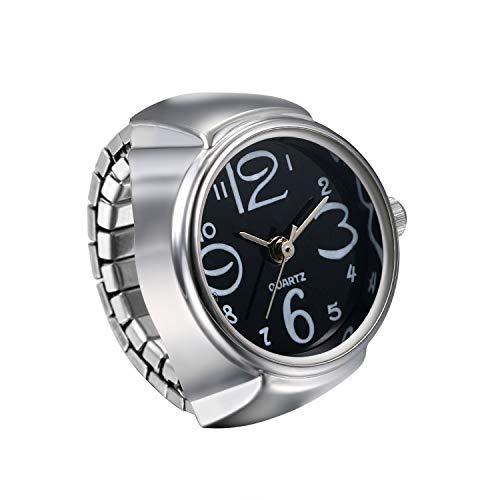 JewelryWe Ringuhr Fingeruhr Herren Damen rund Analog Quarz Elastisch Legierung Ring Uhr Uhrenring Schwarz