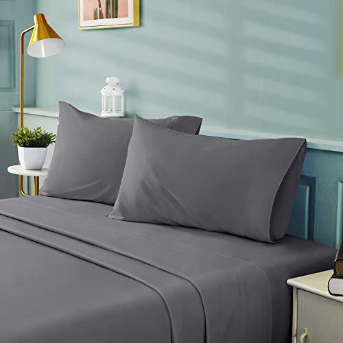 BYSURE 4 Pieces Queen Bed Sheet Set - 1800 Soft Durable Brushed Microfiber, 15 Inch Deep Pockets, Wrinkle & Fade Resistant (Queen, Grey)
