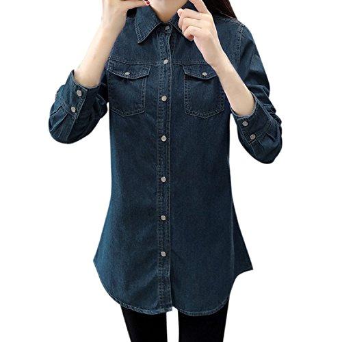 LAEMILIA Damen Bluse Denim Long Sleeve Jeans Hemd Boyfriend Stil mit Brusttaschen Beiläufig Langarmshirt