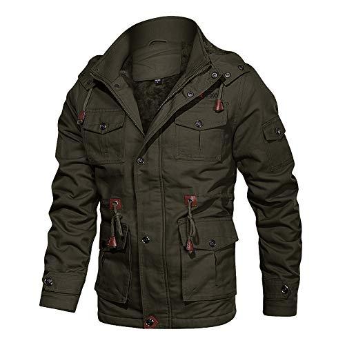 EKLENTSON Military Bomber Jacket Mens Windbreaker Coat Hooded Cargo Jacket Men Pilot Jacket for Men Winter Jacket Army Green
