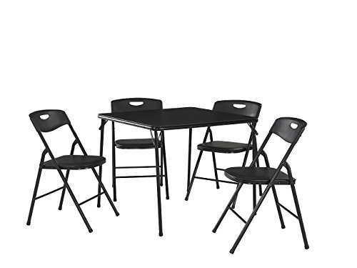 Cosco 5-Piece Folding Table and Chair Set, Black