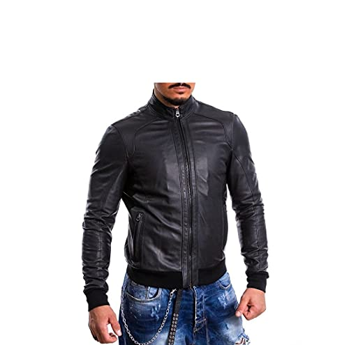 Pelletterie Borghese | Giacca Pelle Uomo Nera | Giubbotto Pelle | Bomber Pelle | Vera Pelle | Giacca Moto | Made in Italy | A236B (Nero, 48)