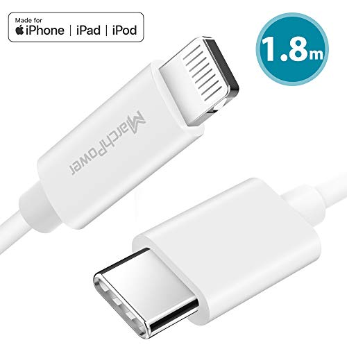 Marchpower USB C naar Lightning-kabel 1,8 m [Apple MFi-gecertificeerd] voor iPhone 11/11 Pro/11 Pro max/X/XS/XR/XS Max / 8/8 Plus voor type-C-opladers