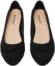 Ataiwee Women's Ballet Flats - Round Toe Bow Cute Classic Flat Shoes.(2007006-2,BK/MF,10.5 M)