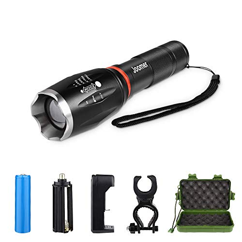 Super Bright Tactical Flashlight Zoomable 5 Modes Waterproof Magnetic Base LED Flashlight 18650 Rechargeable Battery & Charger & Bicycle Mount for Camping Hiking