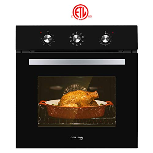 Single Wall Oven, GASLAND Chef ES609MB 24' Built-in Electric Wall Oven, 240V 3200W 2.3Cu.f Convection Wall Oven with Rotisserie, 9 Cooking Modes, Mechanical Knob Control, Transparent Window, Black