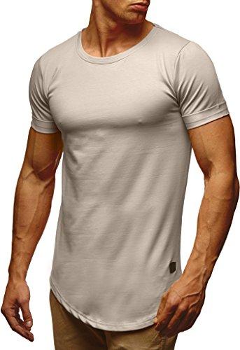 Leif Nelson Herren Sommer T-Shirt Rundhals-Ausschnitt Slim Fit Baumwolle-Anteil Moderner Männer T-Shirt Crew Neck Hoodie-Sweatshirt Kurzarm lang LN6368 Signalgrau Medium