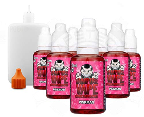 10x Vampire Vape Aroma Konzentrat 30ml + 125ml Poego Leerflasche (Pinkman)