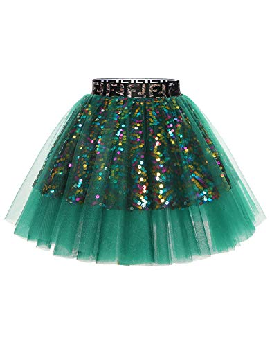 MUADRESS MuaDress Mini Tüllrock Shimmer Glam Pailletten verziert Tutu Sexy Festliche Kostüm Grün S