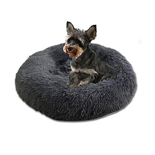 Voqeen Haustierbett katzenbett Hundebett rund Hundekissen Hundesofa hundebett Grosse Hunde Donut Rundes Plüsch warme weiche Decke Rutschfestes Waschbar für Katzen Hunde Tierbett