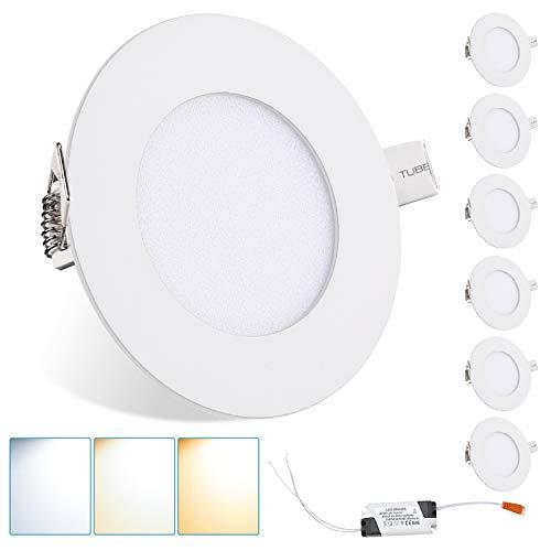 Hengda Panel LED redondo de 6 W, ultrafino, foco empotrable con cambio de color, IP44, 120°, foco empotrable para salón, dormitorio, cocina [Clase energética A+]