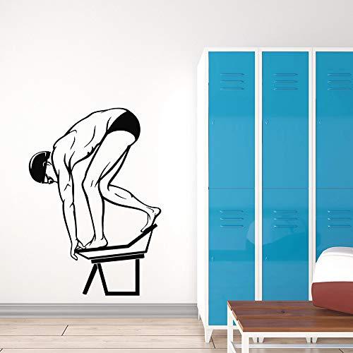 Tianpengyuanshuai Tauchen wandtattoos Wassersport Schwimmen Junge Schwimmbad Wand wasserdicht dekorative Vinyl Fenster Aufkleber Pose 42x59cm