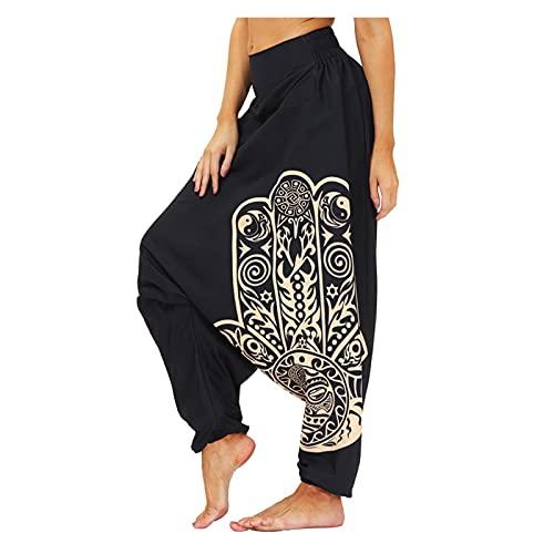 GuanXiao Mejores Pantalones Harem para Mujeres y Hombres, Hecho a Mano Baggy Lounge Boho Aladdin Harem Yoga Pantalones Hip Hop Transpirable Kimono Suelto (Color : 1, Tamaño : L)