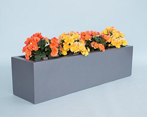 Elegant Einrichten Pflanztrog Blumentrog Fiberglas 100x25x25cm anthrazit metallic