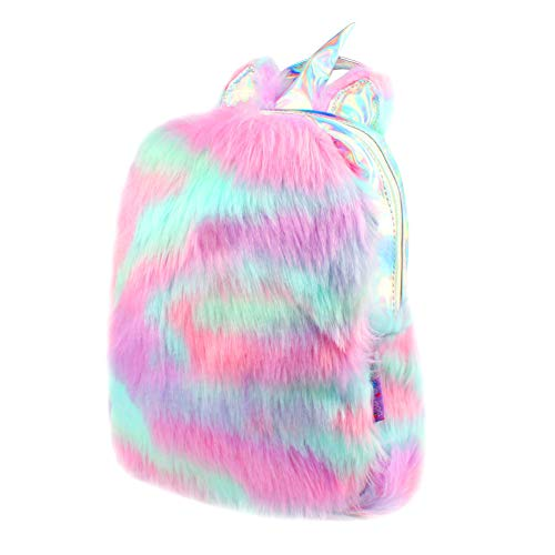 Plush Mini Unicorn Backpack,Cute Plush Unicorn Backpack for Girls School Bag Travel Bag (Purple)
