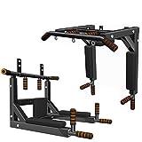 HLeoz Barre de Traction 4en1 Pliable, Barre de Fitness Fixation Murale Plafond Exercices, Multi-Grip Pull Up Bar -...