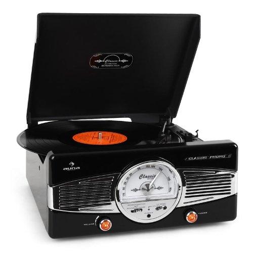 AUNA MG-TT-82B - estéreo, Tocadiscos, accionamiento por Correa, máx. 45 RPM, Altavoces estéreo, diseño de los años 50, Play/Stop automático, sintonizador de Radio, Receptor de FM, Negro