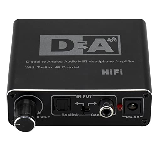 Esenlong Convertidor de audio digital a analógico con perilla de volumen DAC Digital coaxial a analógico RCA/Toslink Adaptador de audio HiFi con conector de audio de 3,5 mm