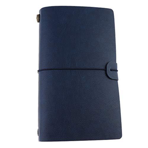 P Prettyia Cuaderno Diario Cubierta de Cuero Falso Diario de Viajes Cuaderno Creativo con Páginas Fijas A6, 20x12cm - Azul