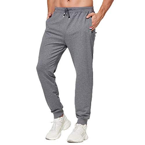 Tansozer Jogginghose Herren Baumwolle Sommer Dünn Lang mit Reißverschluss Taschen Grau S