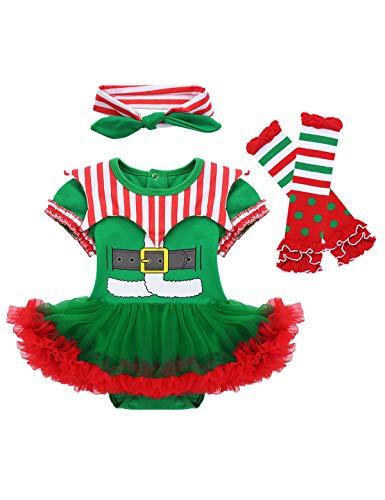 YiZYiF Disfraz Duende Elfo Bebés Niñas Conjunto Navidad 1ª Christmas Vestido Tutú Body Mono Verde Mameluco Traje Navideño Disfraces Fiesta 0-12 Meses Verde y Rojo A 3-6 Meses