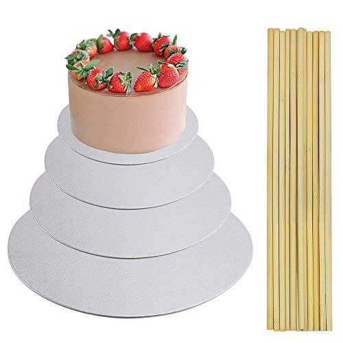 ManLee 4pcs Cake Board Rund 30cm 25cm 20cm 15cm Kuchenplatte Kuchenplatte Tortenunterlage Tortenplatte 2mm mit 10pcs Tortenstützen Holz Kuchenstützen Cakeboard für Mehrstöckige Torten Deko Silber