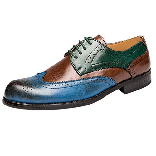 HoSayLike Zapatos De Cuero De Los Hombres Talla Grande Estilo BritáNico Coincidencia De Colores Ata para Arriba Zapatos Casuales Suela De Goma Interior Y Exterior