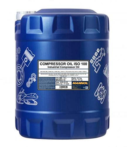 1 x 10 MANNOL Compressor Oil ISO 100 / VDL Lüftverdichteröl für Hub- Drehkolbenverdichtern Kolben und Rotationsverdichtern