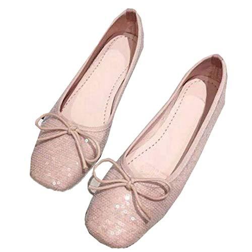 Dames Slip Op Ballet Flats Mode Glitter Strik Loafers Casual Ondiepe Mond Bootschoenen Elegante Vierkante Teen Enkele Schoenen