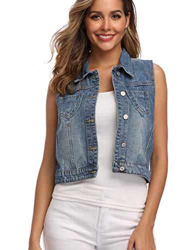 Dilgul Jeansweste Damen Knopf Umlegekragen Ärmelloses Jeansjacke mit Taschen Hellblau Large