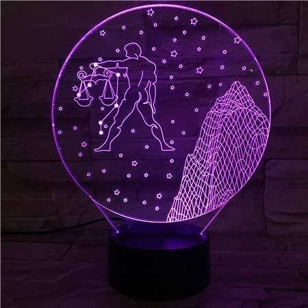 Signos del zodiaco occidental Luz de la noche Led Sensor Táctil 7 Cambio de Color Niños Niños Bebé Luz Noche Regalo Libra Lámpara de Mesa Escritorio