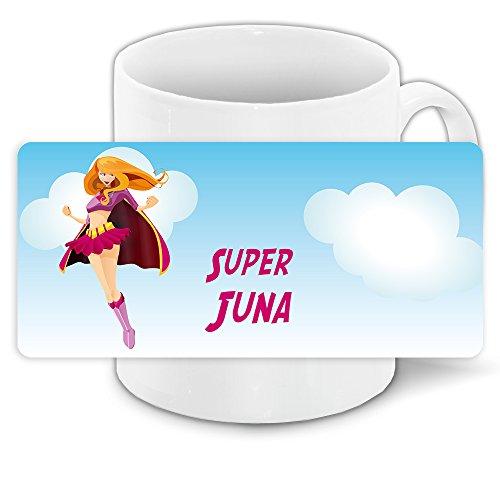 Tasse mit Namen Juna und schönem Superheldin-Motiv für Mädchen - Tasse für Kinder Keramiktasse