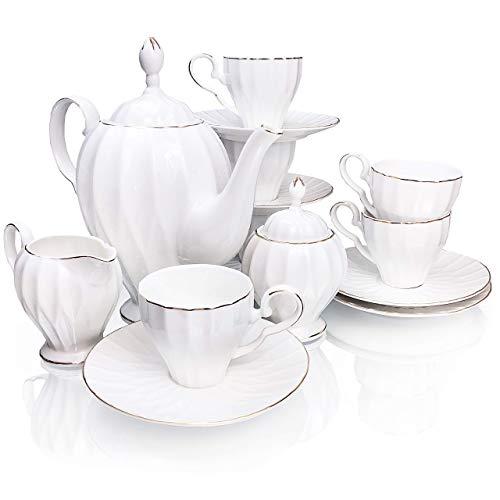 BTaT- Royal Tea Set, 6 Tea cups (5oz), Tea Pot (38oz), Creamer and Sugar Set, Gift box, China Tea Set, Tea Service, Tea Cups and Saucer Set, Tea Set for Adults, Tea Cups Set of 6, Porcelain Tea Set