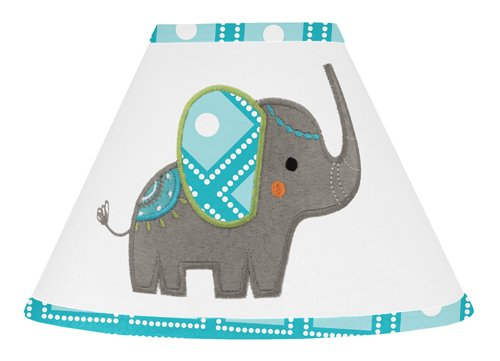 Sweet Jojo Designs Turquoise Blue Gray and White Mod Elephant Girl or Boy Baby Childrens Lamp Shade