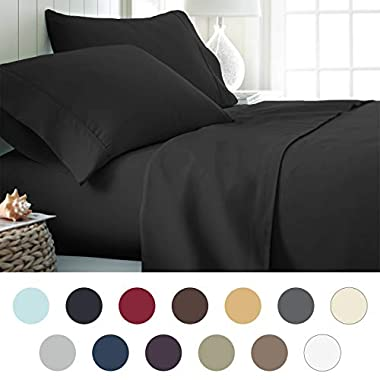 ienjoy Home Hotel Collection Luxury Soft Brushed Bed Sheet Set, Hypoallergenic, Deep Pocket, King, Black