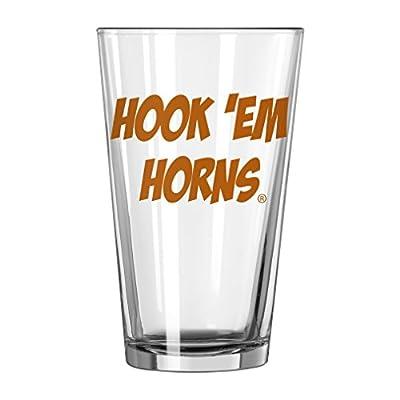 """NCAA Texas Longhorns """"Hook Em Horns"""" Pint Glass, 16-ounce"""