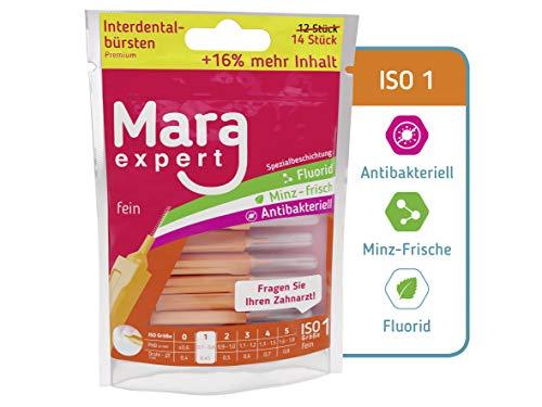 Interdentalbürsten Orange von MARA EXPERT | 0,45 mm ISO 1 Fein | 12 + 2 Zahn Zahnreinigungsbürsten für Zahnzwischenräume | Mit Pfefferminz Geschmack