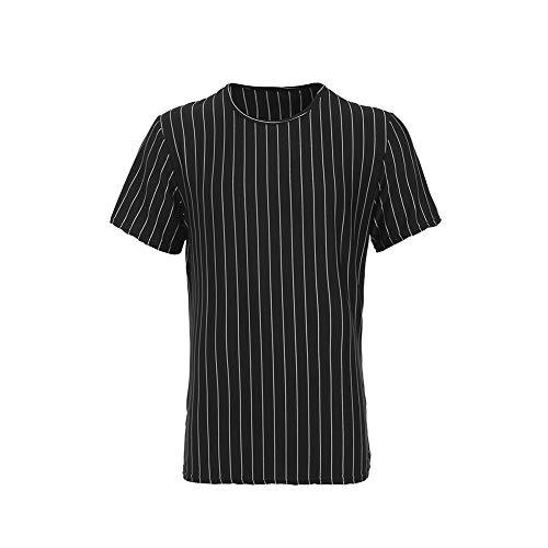 ForUUU Camiseta de Cuello Redondo Slim para Hombre, Camiseta Rayas Verticales Manga Corta