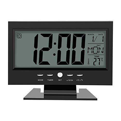 Elektrische klok, LCD Digital Sound Sensor Tabel wekker met kalender en Temperatuur Display,Black