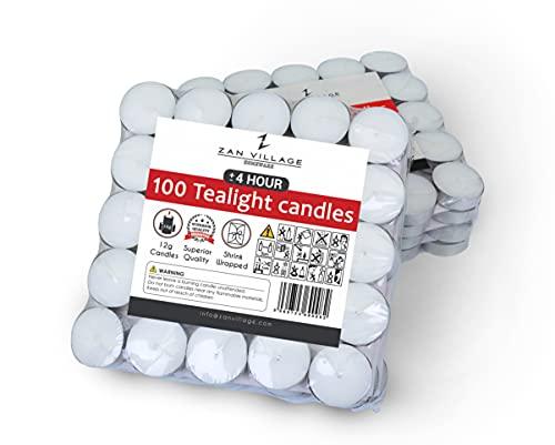Zan Village Homeware Kerzen/Teelichter, bis zu 4 Stunden Brenndauer, 11 g, 100 Stück, eingeschweißt (100 Stück)
