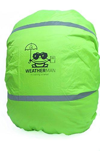 Weatherman wasserdichter Regenschutz für Schulranzen und Rucksack, Signalfarbe, mit Gummizug, Regenhülle, Sicherheitsüberzug, Sicherheitshülle, Schutzhülle, Regenschutzhülle (Grün)