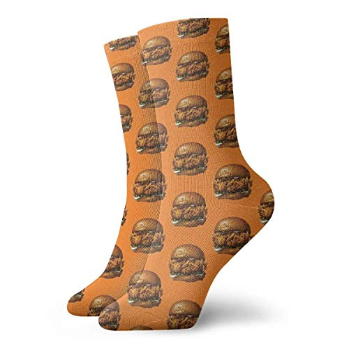 QUEMIN Popeyes Calcetines de sndwich de pollo Calcetines cortos deportivos clsicos de ocio adecuados para hombres, mujeres, calcetines deportivos, cmodos, transpirables, casuales, 30 cm