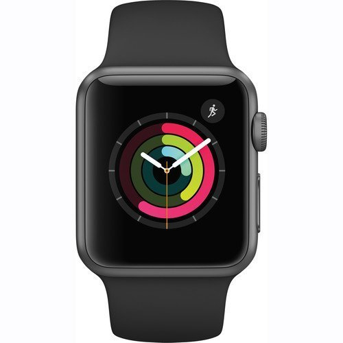 Apple Watch Series 1 Smartwatch 38mm Space Gray Aluminum Case, Black Sport Band (Newest
