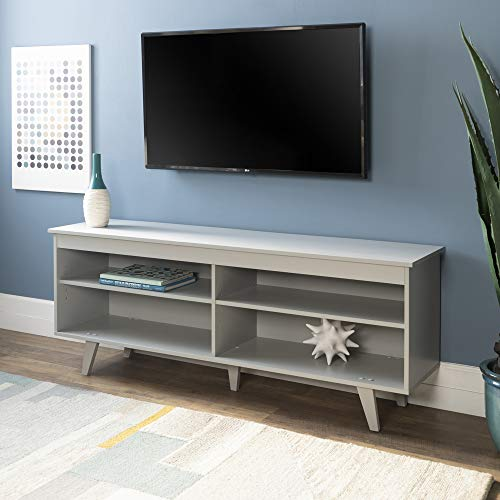 Walker Edison Furniture Company Mid-Century Modern Wood Simple Stand for TV's up to 64' Living Room Storage, 58 Inch, Grey