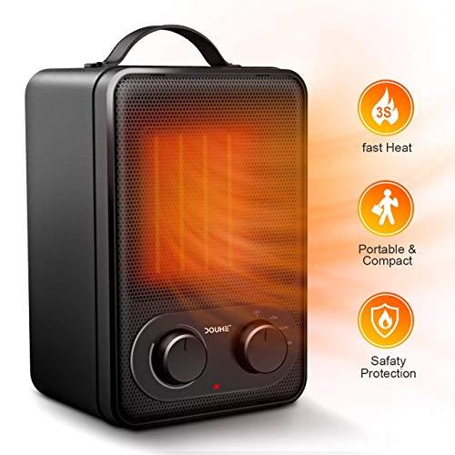 Stufa Elettrica Portatile - 1800W Stufa Elettrica Ceramica Mini con Potenzione di Surriscaldamento e Inclinazione, Caldo e Freddo Vento Termoventilatore con Termostato Regolabile per Ufficio Camera